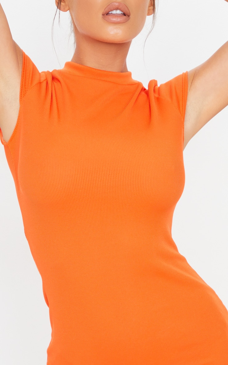 Bright Orange Ribbed High Neck Bodycon Dress 4