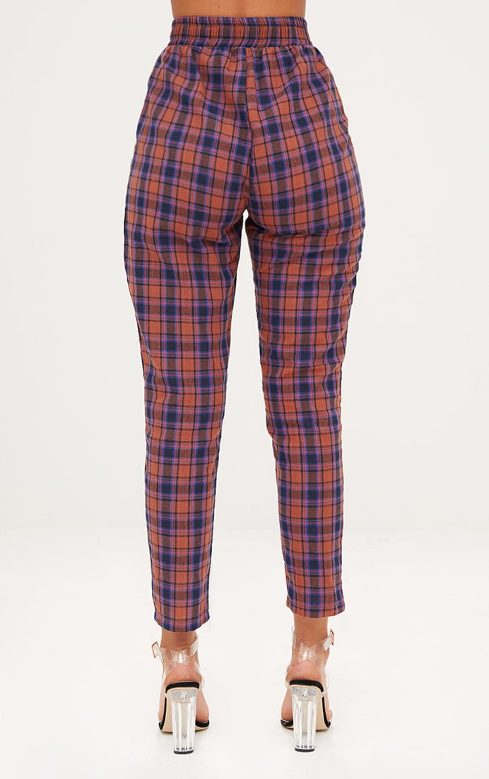 Rust Check Front Pleat Casual Trousers 4
