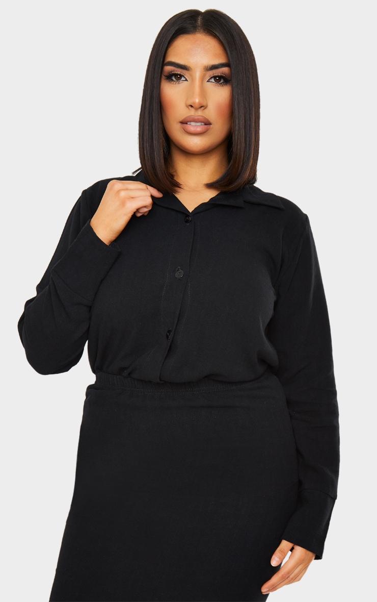 Black Woven Longline Shirt 1