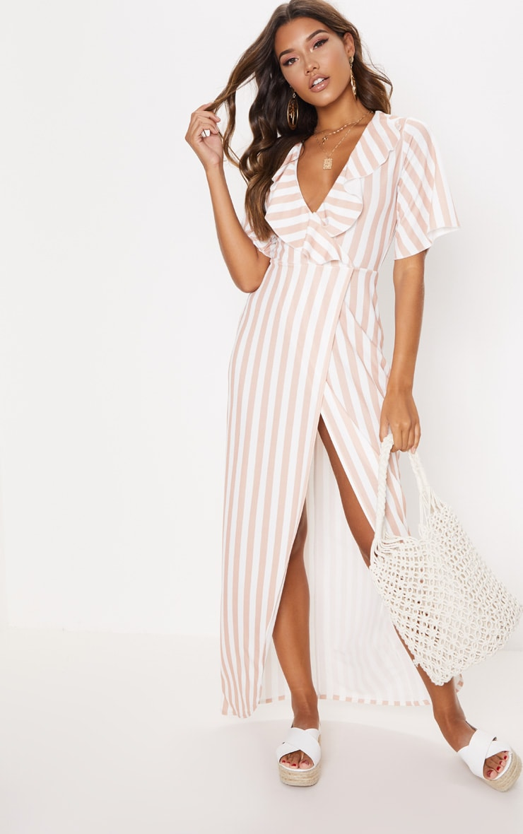 Stone Stripe Print Frill Detail Wrap Maxi Dress