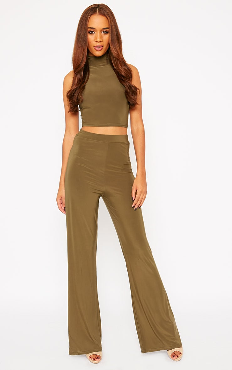 Remi Khaki Soft Touch Wide Leg Trousers 1