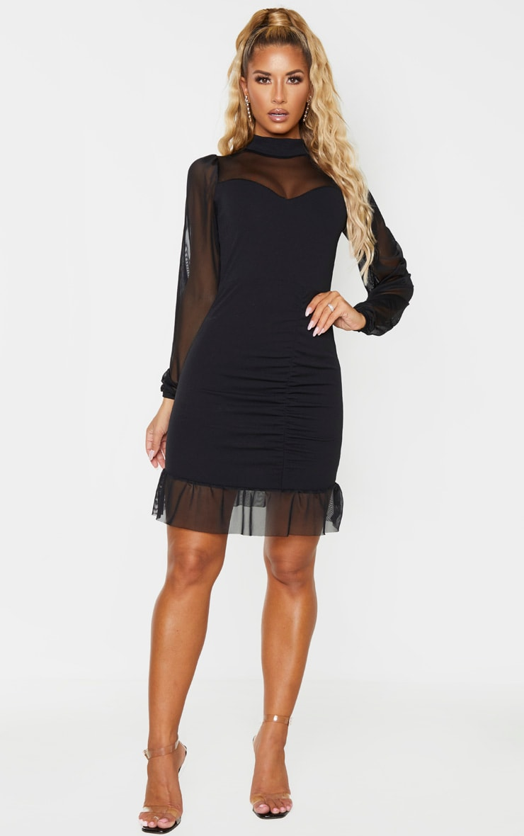 Black High Neck Ruched Mesh Contrast Bodycon Dress 4