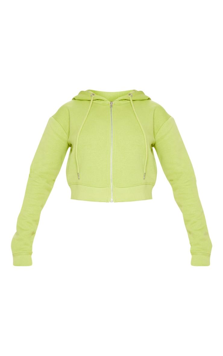 Neon Lime Crop Zip Hoodie 3