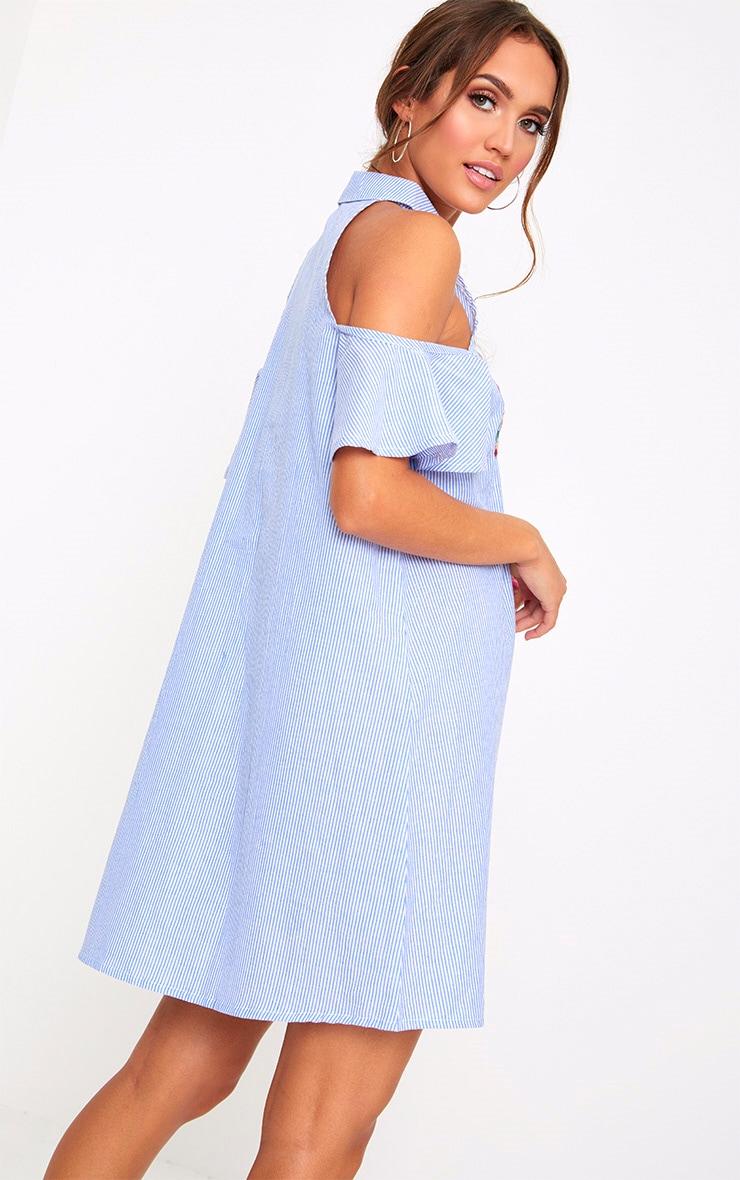 Blue Pinstripe Cold Shoulder Embroidered Shirt Dress 2