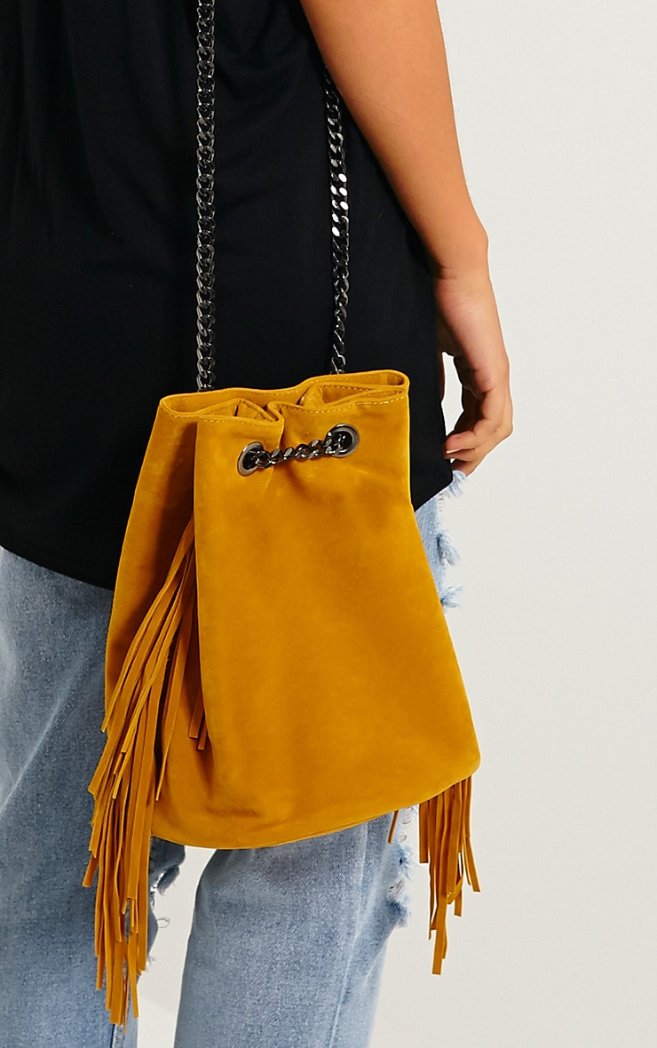 Letty Mustard Suede Fringe Bucket Bag 2