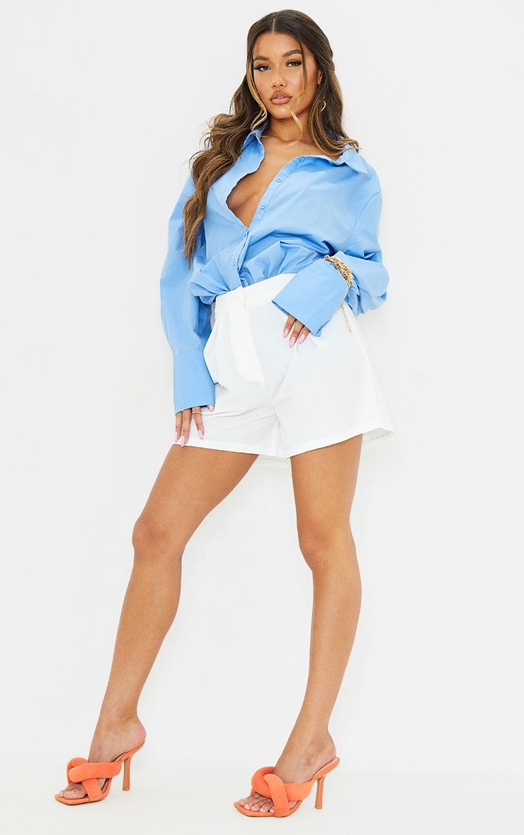 White Textured City Shorts 1