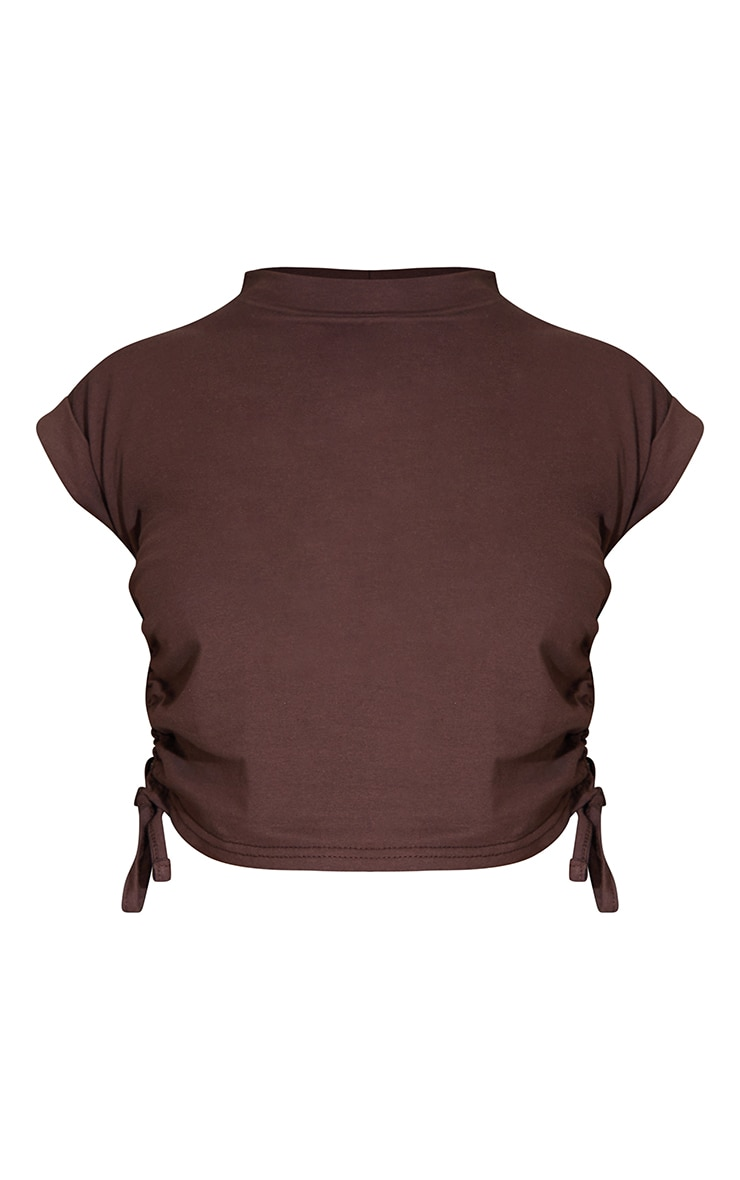 Chocolate Cotton Folded Sleeve Ruched Side Crop Top 5