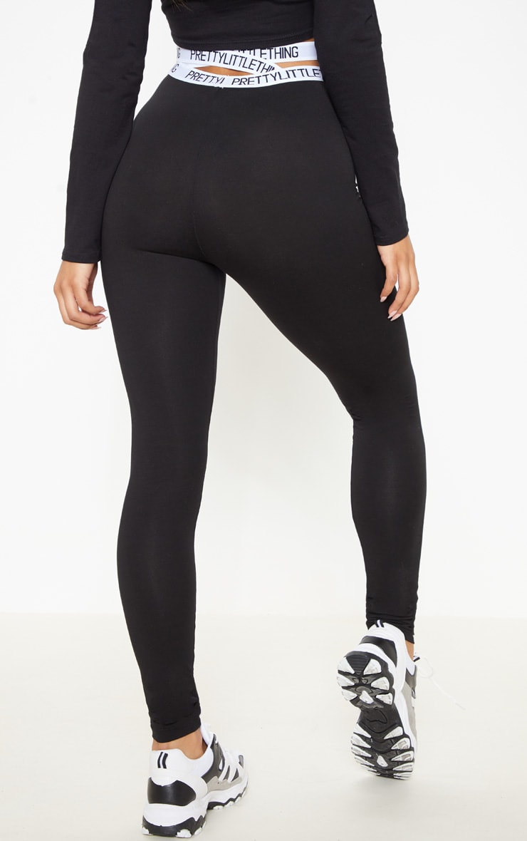 PRETTYLITTLETHING Black Strappy Waist Leggings 4