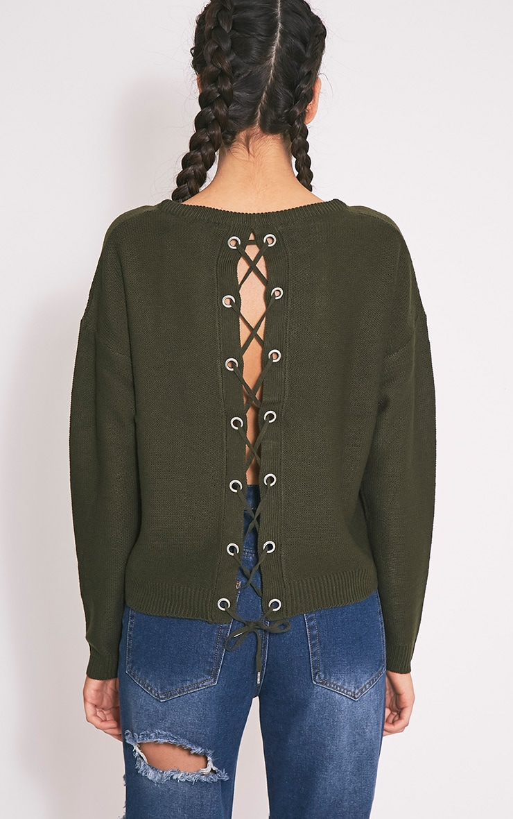 Alissa Khaki Lace Up Back Knitted Jumper 2