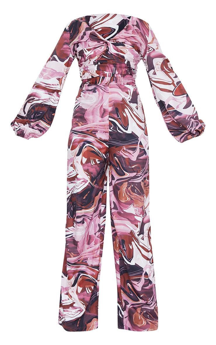 Brown Marble Print Twist Long Sleeve Jumpsuit 5