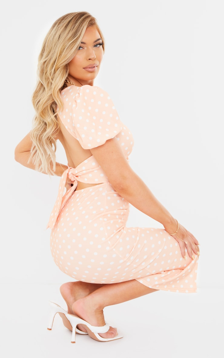Tangerine Polka Dot Puff Sleeve Cut Out Ruched Midi Dress 2