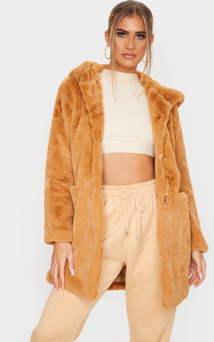 Camel Hooded Faux Fur Midi Coat 1
