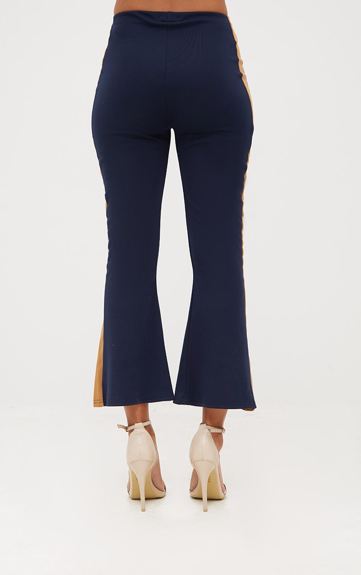 Navy Track Stripe Kick Flare Trousers 4