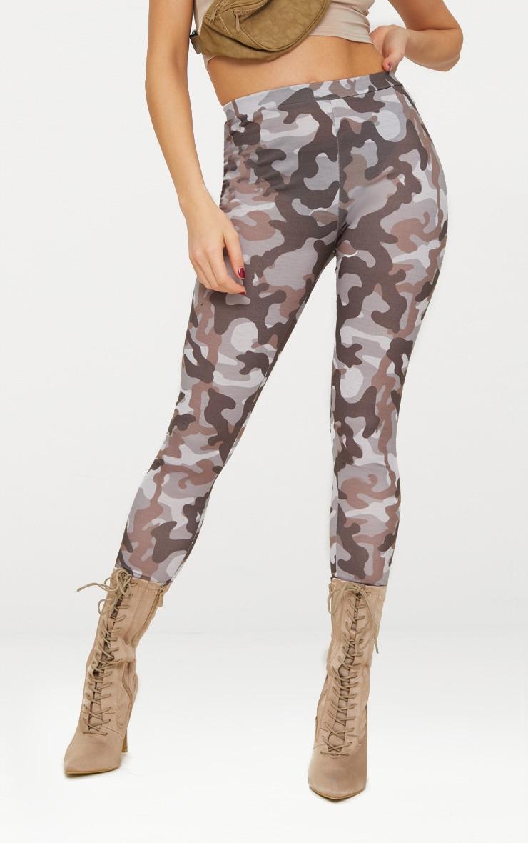 Grey Camo Print Leggings 2
