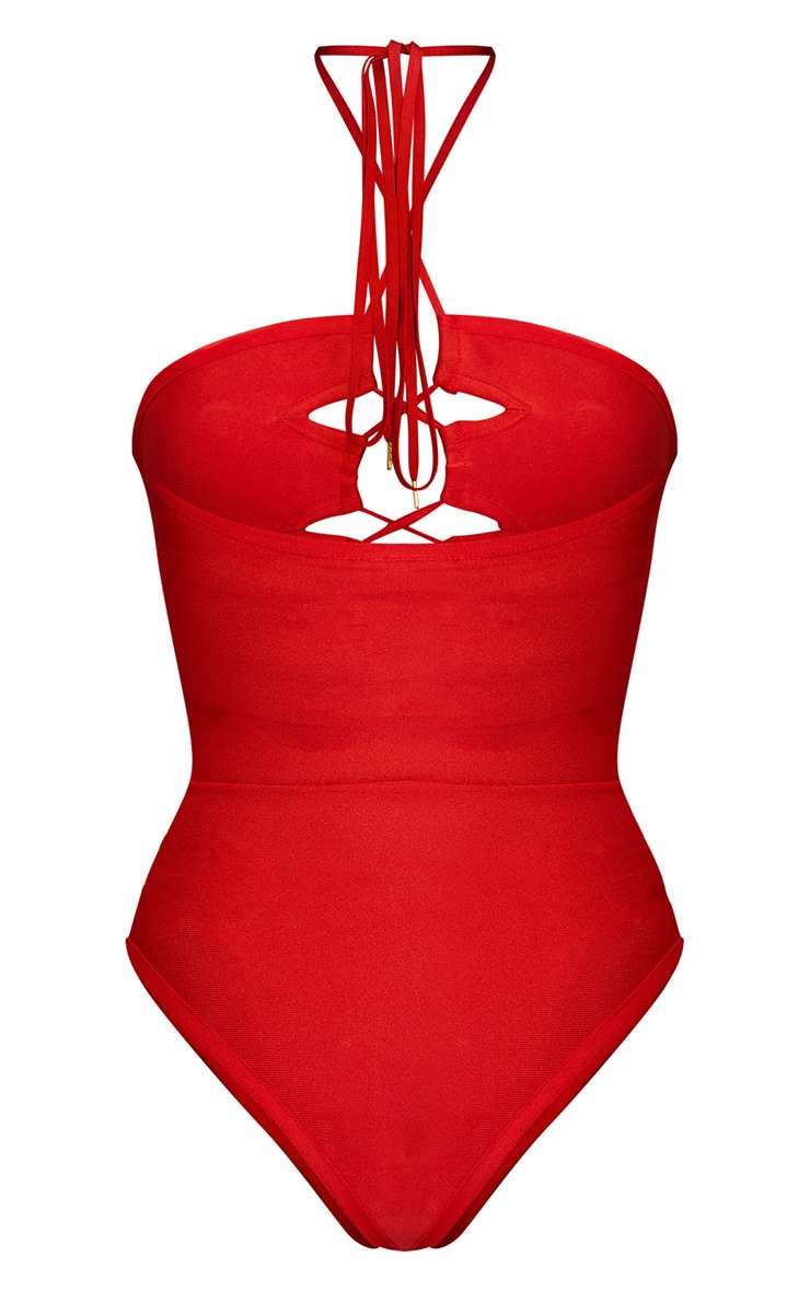 Red Cut Out Lace Up Bandage Swimsuit 5
