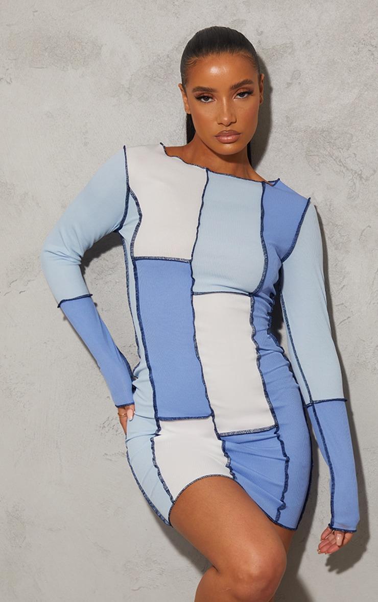 Blue Patchwork Overlock Stitch Detail Long Sleeve Bodycon Dress 1