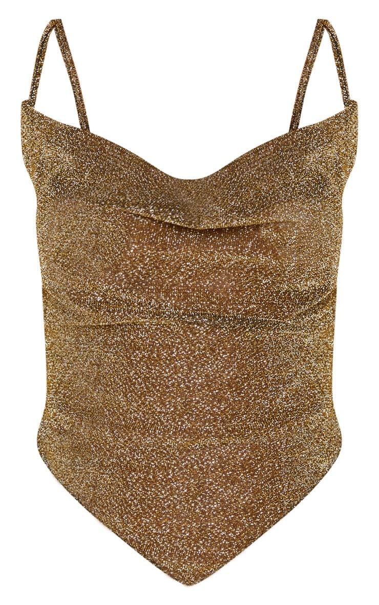 Gold Glitter Handkerchief Crop Top 4