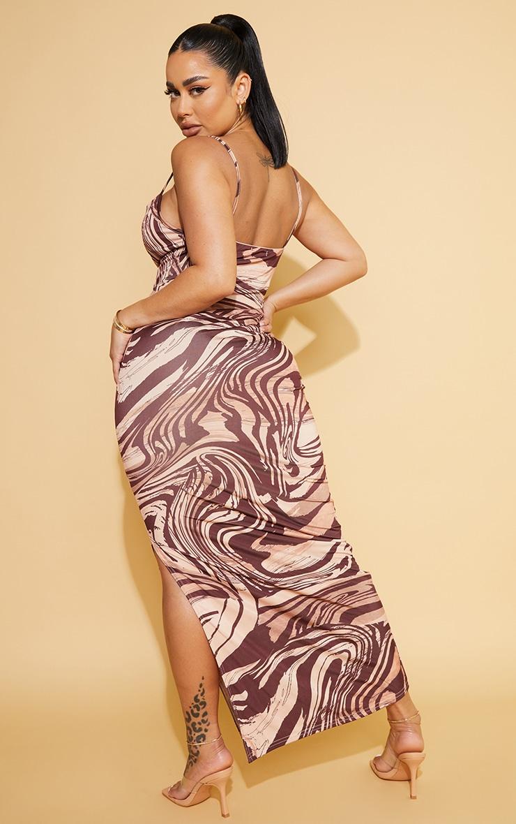 Shape Stone  Marble Print Slinky Cowl Neck Midaxi Dress 2