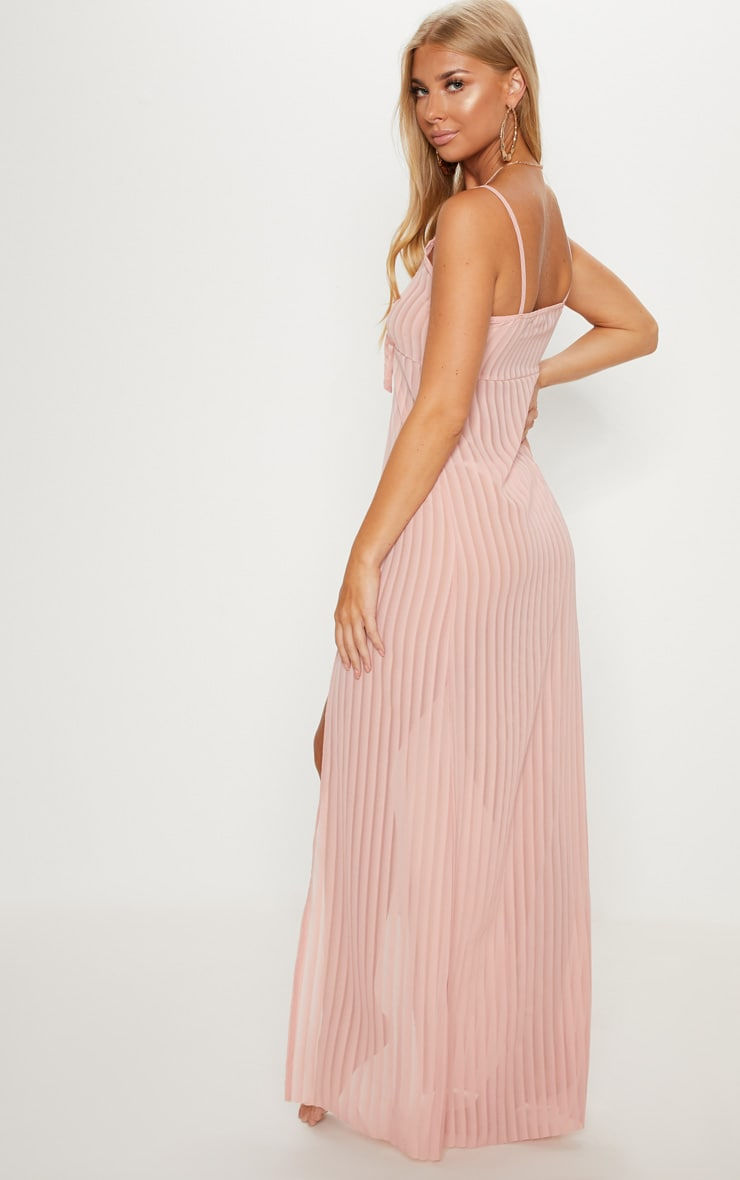 Pink Stripe Chiffon Tie Front Beach Dress 2
