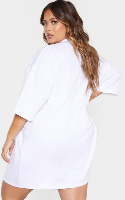 Plus White I Am Enough Oversized Slogan T-Shirt Dress