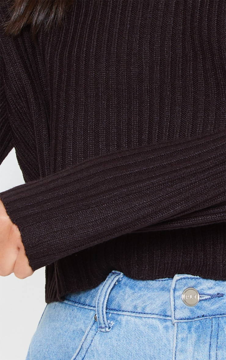 Black Cropped Ribbed Knitted Jumper 5