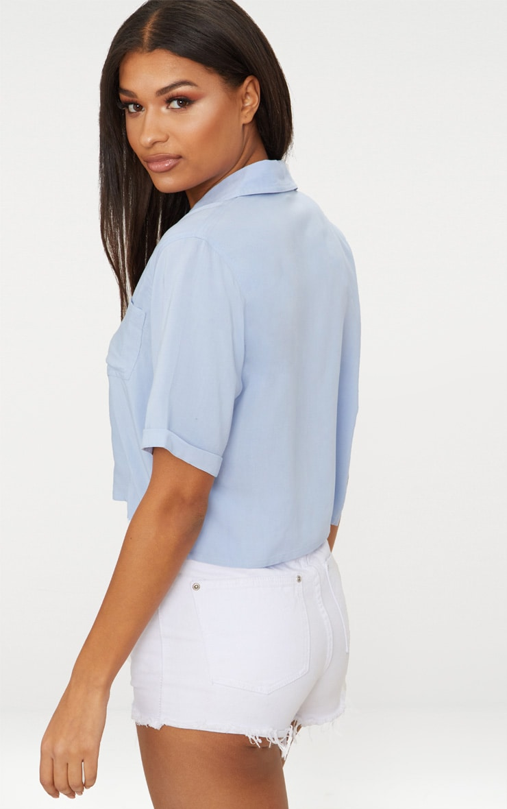 Blue Crop Oversized Shirt 2