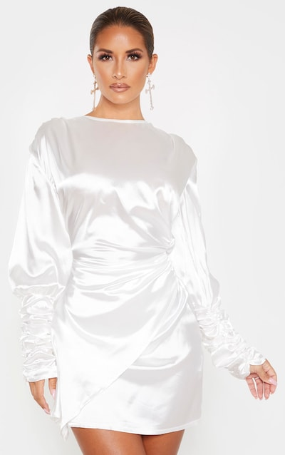 White Satin Open Back Ruched Bodycon Dress