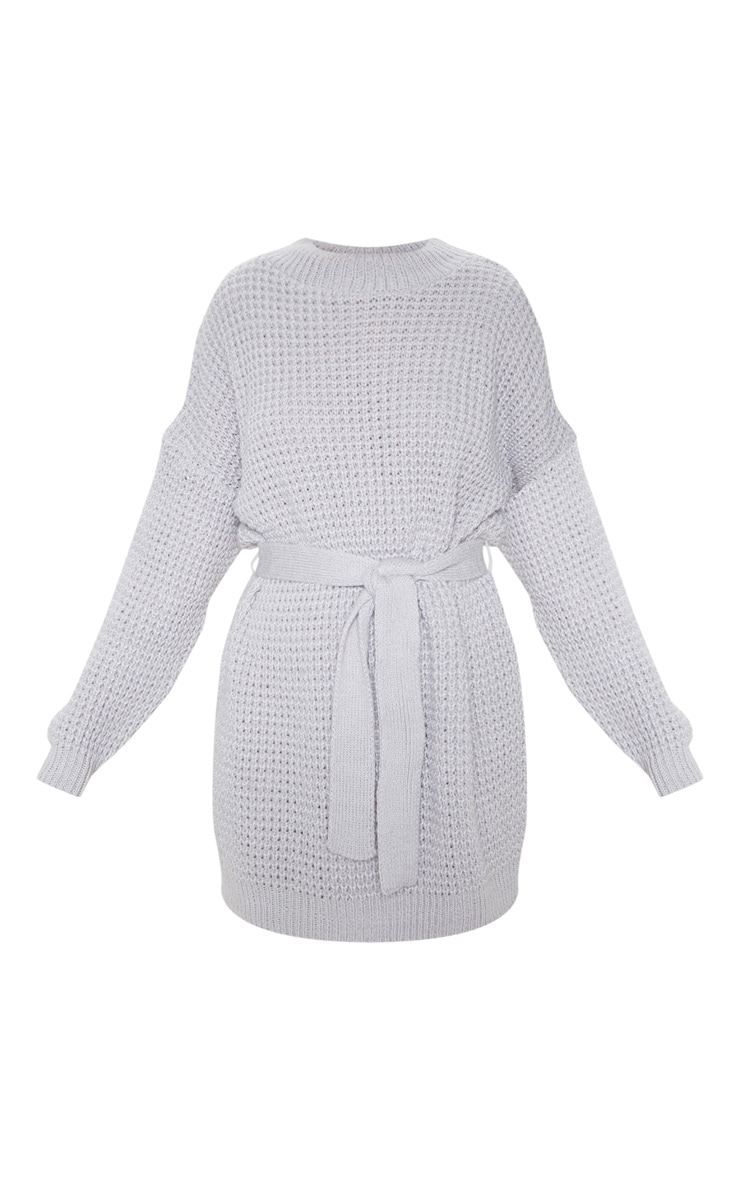 Light Grey Soft Touch Belted Knitted Jumper Dress 3