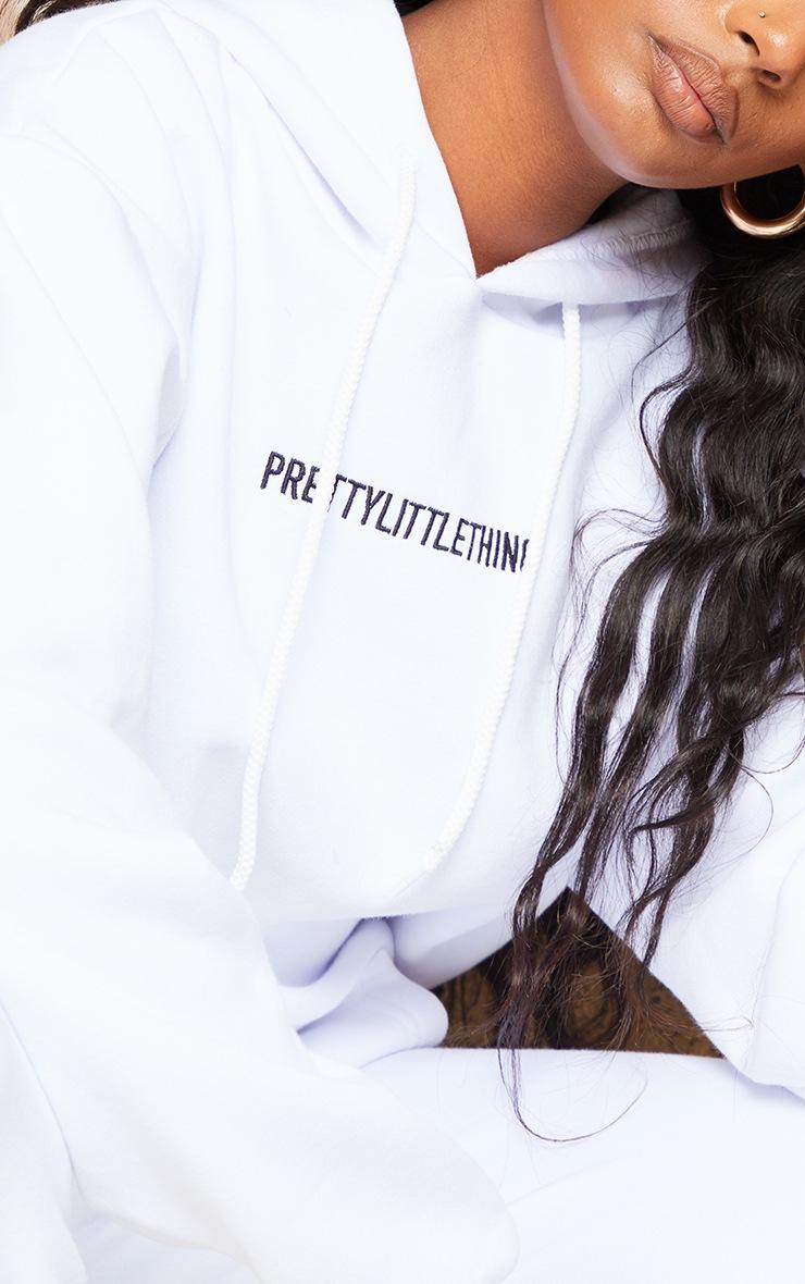 PRETTYLITTLETHING White Embroidered Slogan Hoodie 5
