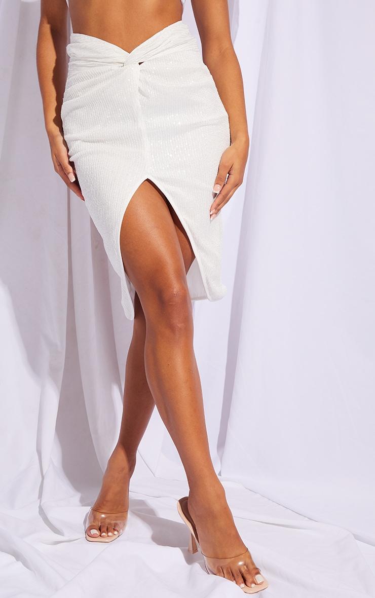 White Sequin Twist Front Midi Skirt 2