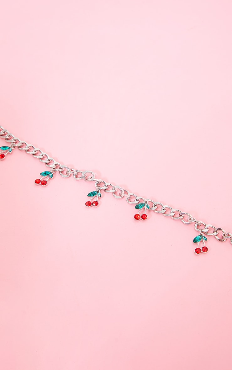 Silver Cherry Chain Necklace 4