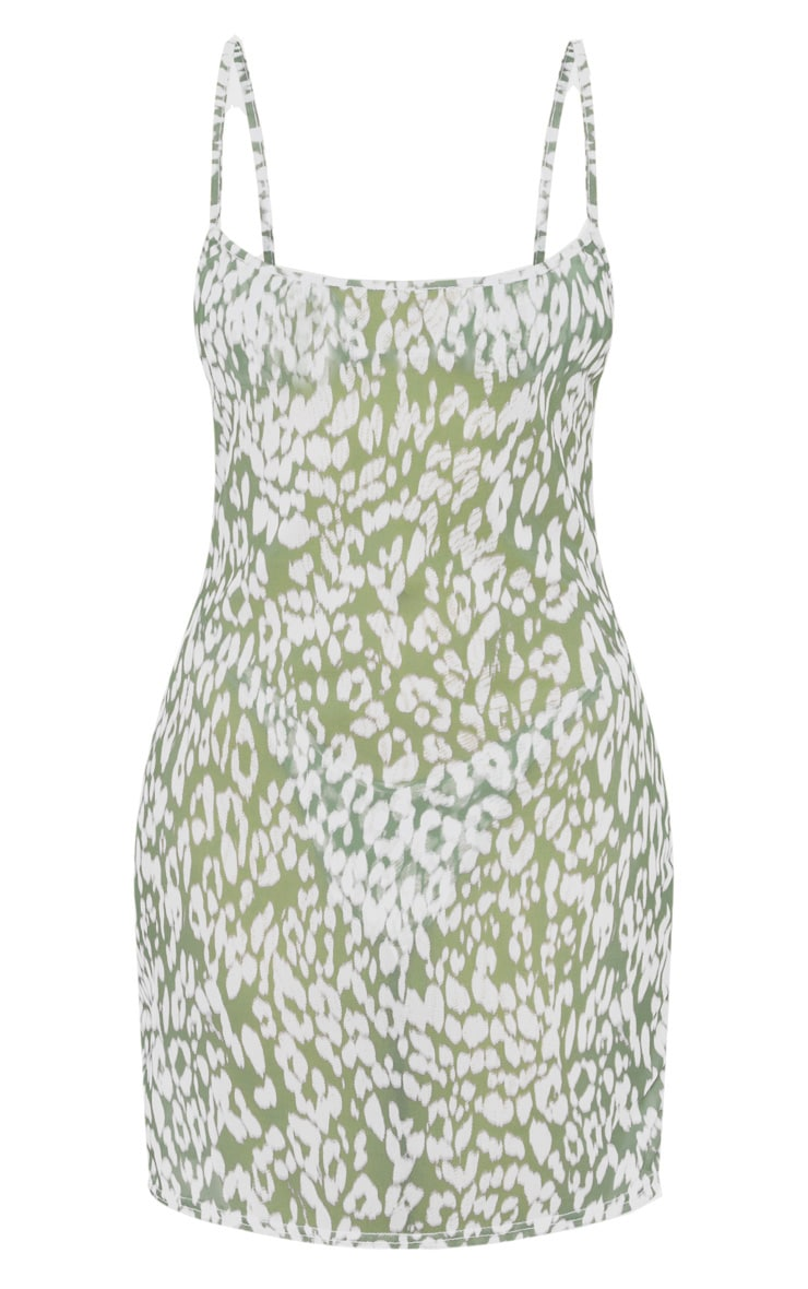 Green Blurred Cheetah Mesh Beach Dress 5