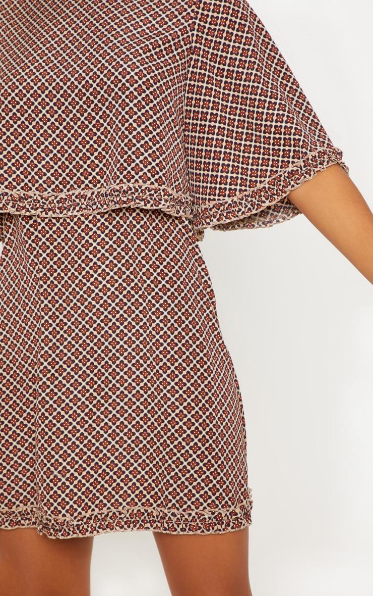 Carrelage Beige Et Marron robe blouse marron à imprimé carrelage beige