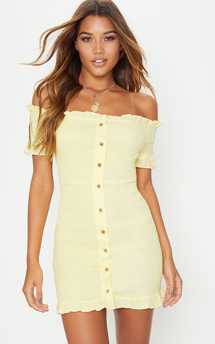 Lemon Shirring Button Detail Bardot Bodycon Dress 1
