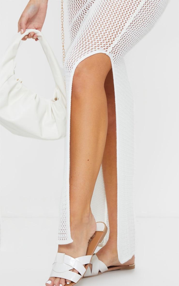 White Open Knit V Neck Side Split Midi Dress 4