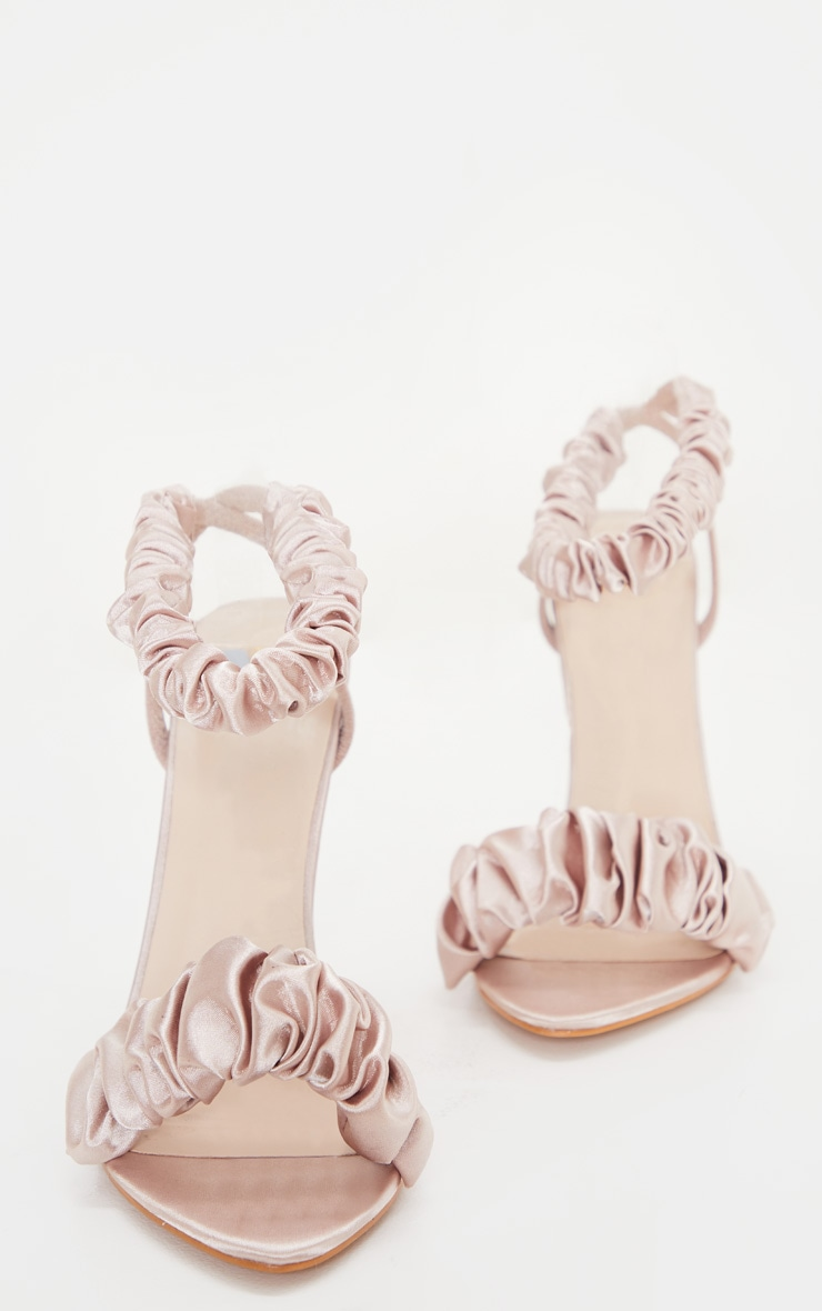 Nude Ruched Double Strap Sling Back Heeled Sandal 3