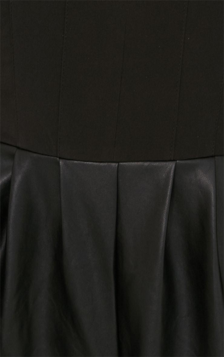 Minna Black Leather Short Playsuit  4