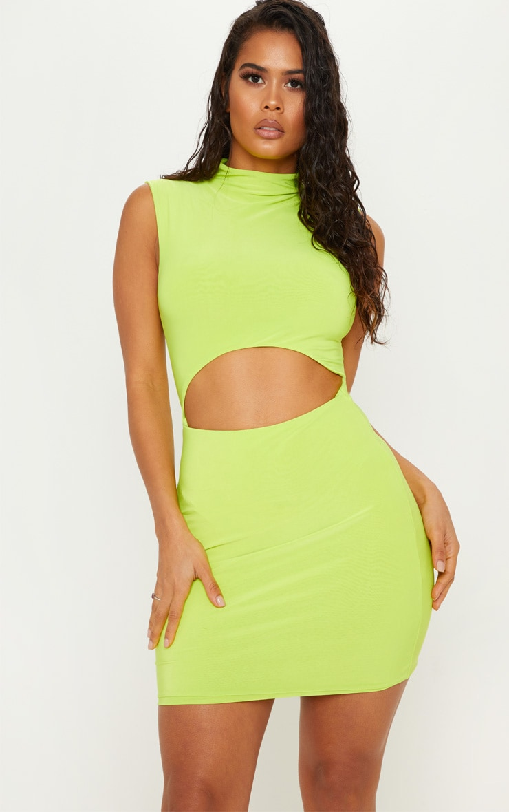 Neon Lime High Neck Cut Out Slinky Bodycon Dress 2