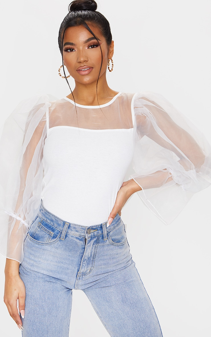White Organza Mesh Long Top 1