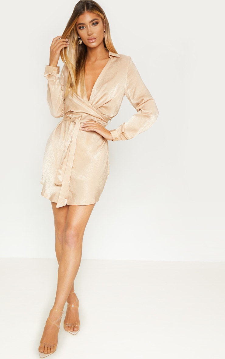 Champagne Satin Wrap Shift Dress 4