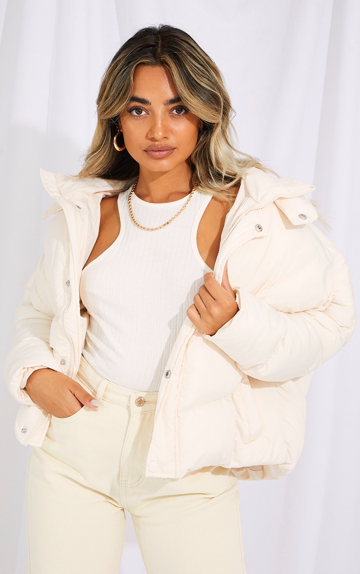 Petite Cream Nylon Oversized Curved Panel Wadded Puffer Jacket 1