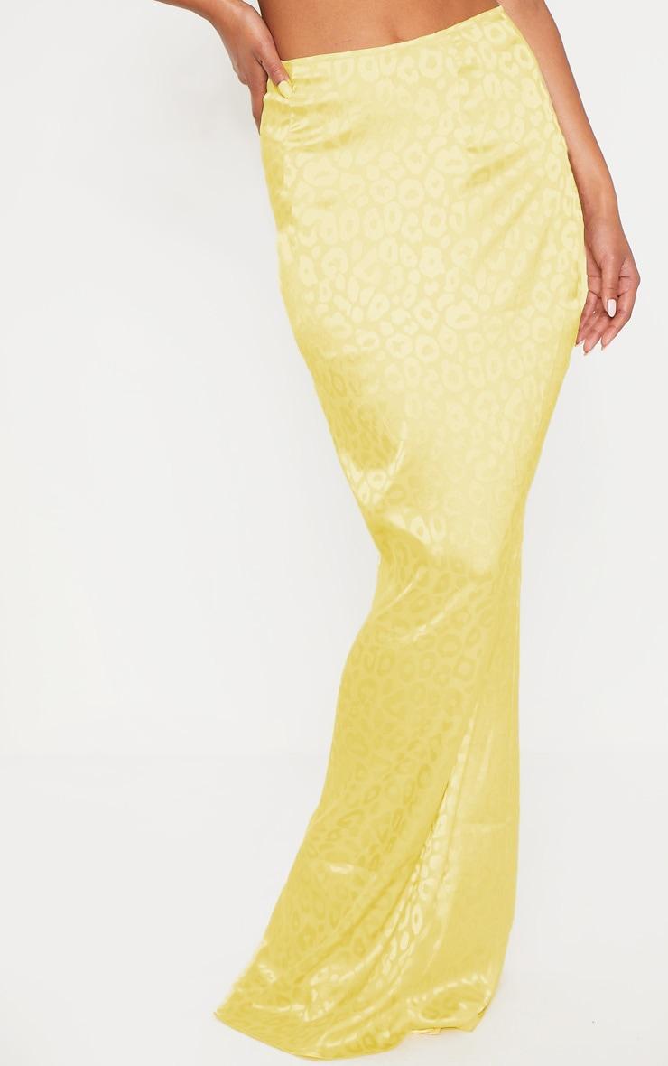 Yellow Satin Jacquard Leopard Print Maxi Skirt 2