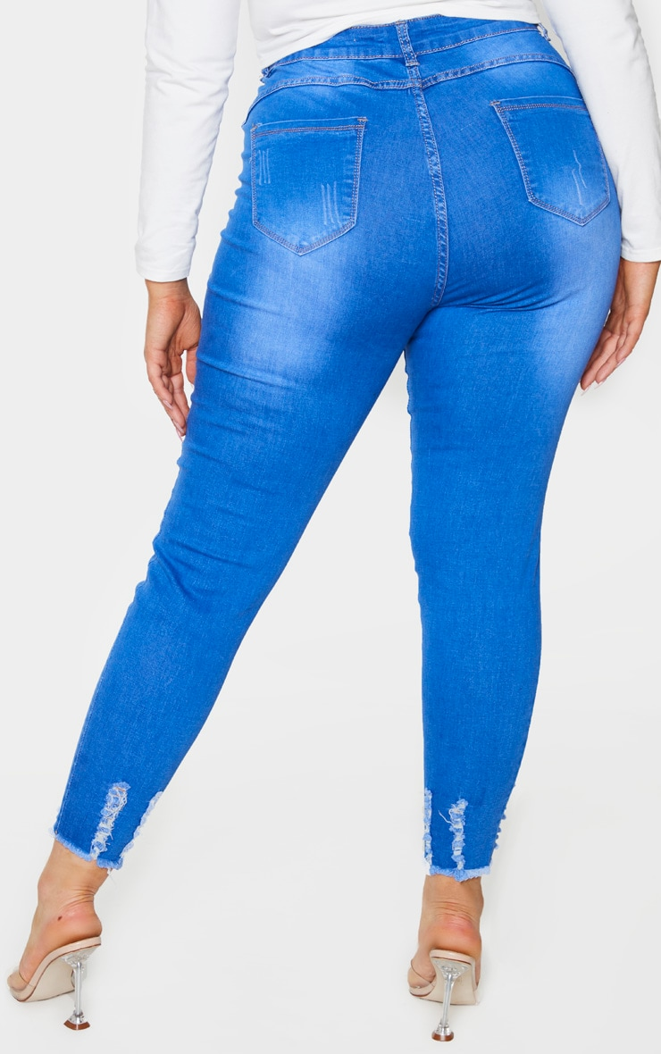 Plus Mid Blue Distressed Stretch Denim Jean 3