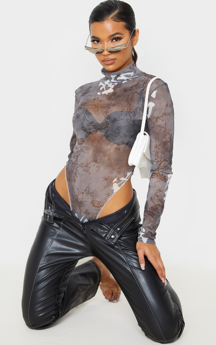 Black Tie Dye Mesh Contrast High Leg Bodysuit 5