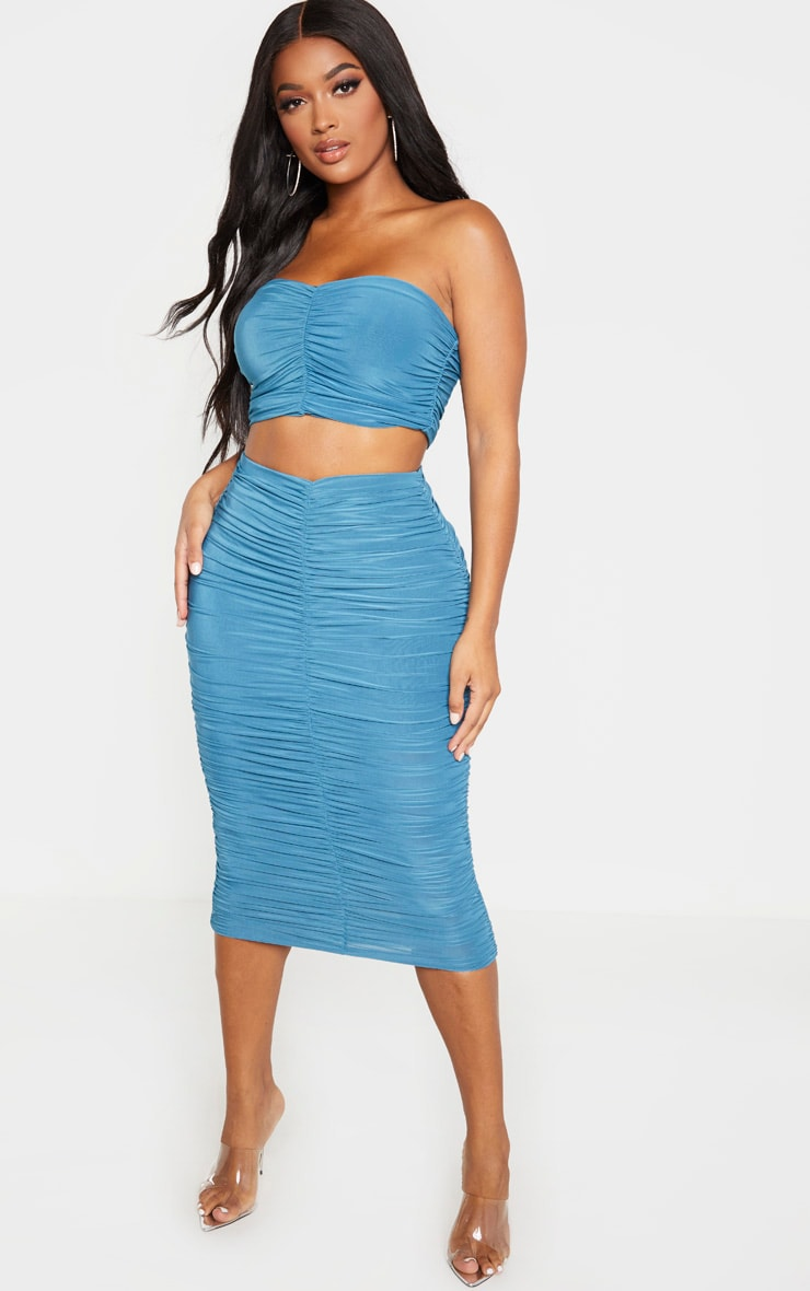 Shape Petrol Blue Slinky Ruched Midi Skirt 1