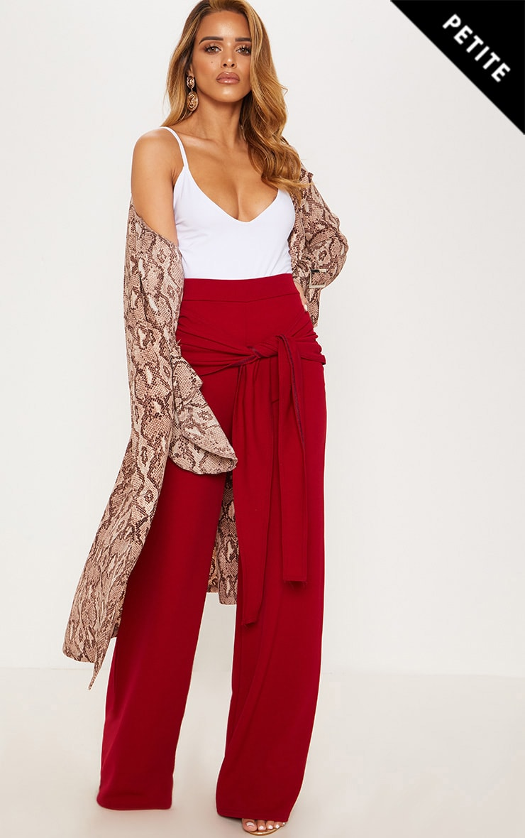 Petite Burgundy Tie Front Wide Leg Trousers