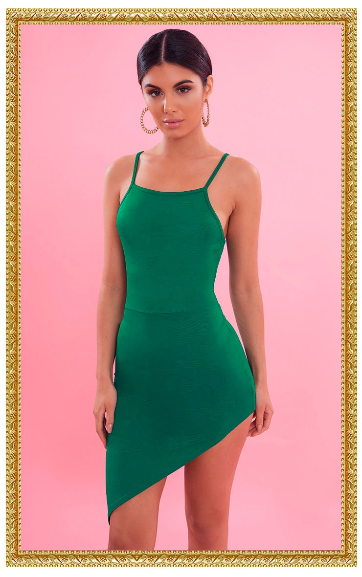 Bright Green Asymmetric Strappy Bodycon Dress 1