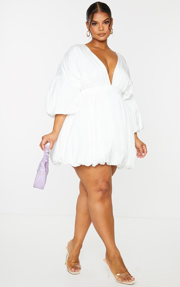 Plus White Puff Sleeve Puffball Hem Shift Dress 3