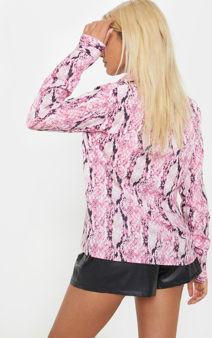 Petite Pink Snake Print Oversized Pocket Detail Shirt  2