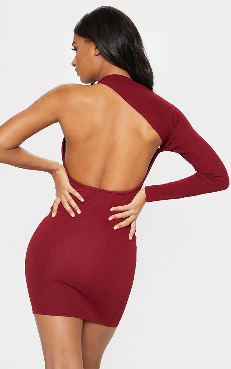 Burgundy One Shoulder Bodycon Dress 2